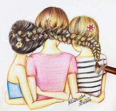 Pin by busy izzy on kawaii anime drawings of friends, bff dr Bff Pics, Friend Pictures, Best Friend Drawings, Bff Drawings, Cool Drawings, Drawing Of Best Friends, Pencil Drawings, Best Friends Forever, Three Best Friends