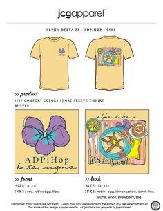JCG Apparel : Custom Printed Apparel : Alpha Delta Pi ADPiHop T-Shirt #alphadeltapi #adpi #adpihop #pancakes #brunch #handdrawn #letsdobrunch