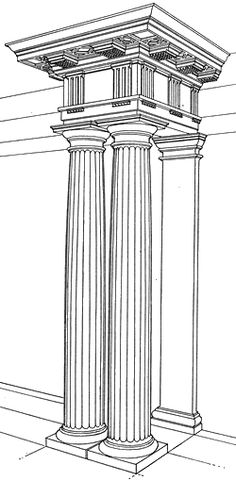 Doric Column In ancient Greece, Doric columns were stouter than those of the Ionic or Corinthian orders. Their smooth, round capitals are simple and plain compared to the other two Greek orders. A square abacus connects the capital to the entablature. In Greece, the Doric column was placed directly on the pavement or floor without benefit of a base.