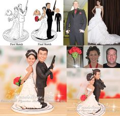 Shotgun Wedding Cake Toppers Feature Bride And Groom Figurine In Back To Pose With Holding A Handgun