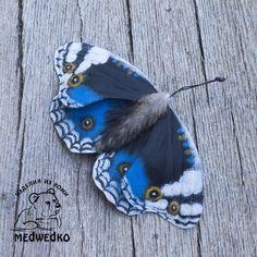 Купить Брошь из кожи Бабочка Blue Pansy-4 - бабочка, брошь, синий, подарок девушке