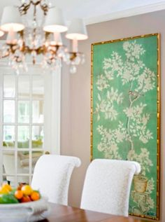chinoiserie silk wallpaper with gold bamboo frame. Perfect large scale art for the dining room