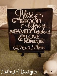 Kitchen Art Decoration, 6x6 inch Tile, Bless this Food Sign, Decorative Kitchen Sign on ceramic tile with epoxy finish/ Custom colors, decor #kitchen #blessings #blessed #family #home #gift #sign #decor #home #eating #eat