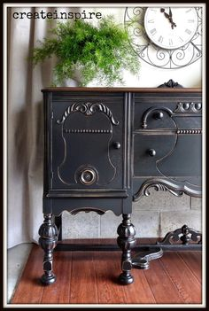 Antique Buffet Refinished by {Create Inspire} #PaintedFurniture #BlackBuffet