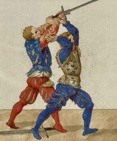 Entering for an arm break and/or throw Historical European Martial Arts, Fight Techniques, Landsknecht, Warrior Spirit, Sword Fight, Steel Art, Mystery Of History, Medieval Manuscript, Renaissance Art