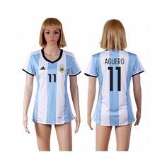 Argentina Fotbollskläder Kvinnor 2016 #Kun Aguero 11 Hemmatröja Kortärmad,259,28KR,shirtshopservice@gmail.com