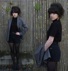 "This girl describes herself as ""A big hair advocate and cat enthusiast. Her hair is fabulous and so is that outfit! Black Lace Up Boots, Black Tights, Black Denim, Black Jumper, New Chic, Love Her Style, Big Hair, High Waisted Shorts, Cute Outfits"