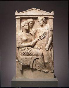 Greek (Attic), Marble stele (grave marker) of Lysistrate. Late Classical, ca. 350–325 B.C. Metropolitan Museum of Art, New York