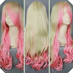 High Quality Blonde and Pink Synthetic Long Wavy Cosplay Wig Fast Shipping Free Wig Cap