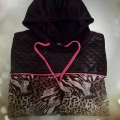 "Leopard Hoodie Very cute and unique hoodie. Soft lightweight material, not lined. Has 2 front pockets. Reposh never worn. Size runs small, please review measurements below:  Width: 22.5"" Length:  25.5"" Sleeve: 22"" Rouge Collection Tops Sweatshirts & Hoodies"
