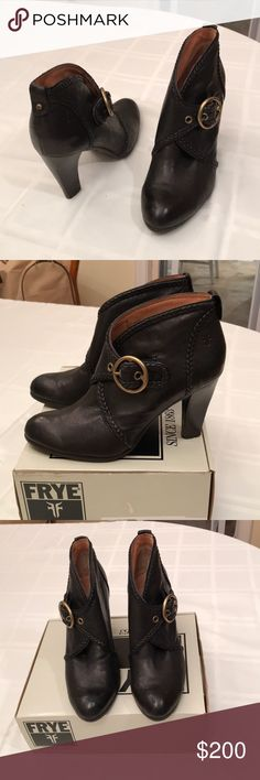 """Frye Vickie Ankle Bootie, black leather, like-new! GORGEOUS Frye Vicki Bootie, braided black leather, brass buckle, embossed logo, stacked wood heel, approx 3.5"""".  Excellent like new condition.  No box. Frye Shoes Heeled Boots"""