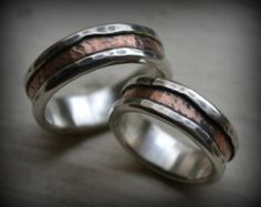 rustic silver and 14K rose gold wedding ring set - handmade fine silver and gold wedding bands - oxidized rings - his and hers customized