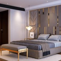 luxury furniture The most beautiful luxury and modern bedroom ideas - Page 2 decoration Luxury Bedroom Design, Bedroom Furniture Design, Master Bedroom Design, Luxury Furniture, Bedroom Decor, Interior Design, Bedroom Lighting, Bedroom Ideas, Antique Furniture