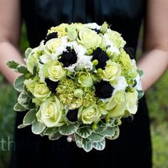 White, green, blue bouquet.