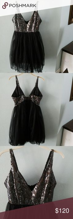 Allison Paris black tulle dress Beautiful dress for a holiday party, cocktail hour, or any event. Has beautiful details on the top and flattering tulle on the bottom. allison paris Dresses
