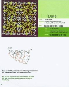 Dalia - Square Motif with schemata. Block tatting pattern.... Many many more  lovely patterns at site !!!