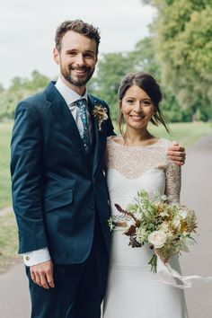 Liberty Strawberry Thief wedding tie for the groom   .................   Bride & Groom Portrait - Brixton East 1871 Contemporary Wedding | Image by Deborah Grace Photography