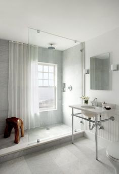 Love the uncluttered look of a single piece of glass!! Just not sure about the window and curtain....?