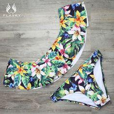 Lady Sexy Floral Bandeau Off Shoulder Ruffled Bikini Flounced Swim Wear Bathing Suit Swimsuit Swimwear Women Bikini