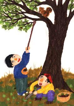 밤 따기 Art Lessons For Kids, Art For Kids, Painting For Kids, Drawing For Kids, Culture, Christmas Ornaments, Holiday Decor, Children, Drawings