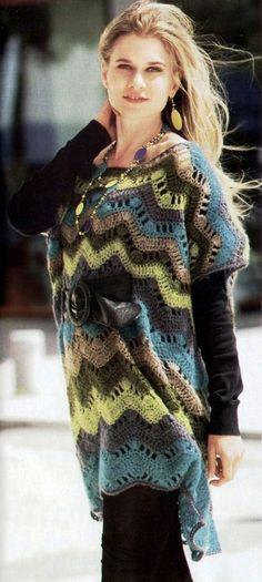 ergahandmade: Crochet Poncho + Diagram