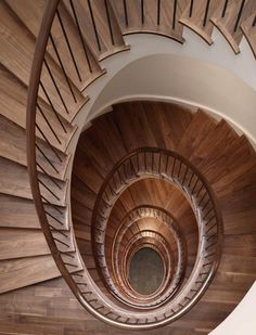 Winding wood stair