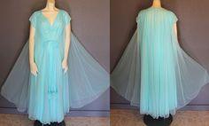 Vtg SEAFOAM Lucie Ann POM POM Double CHIFFON Lingerie Peignoir Night Gown Robe