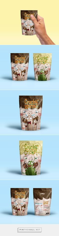 CRUCHY' INSECT CANDY Packaging on Behance by M. Piga curated by Packaging Diva PD. This cute concept packaging even makes insect candy look good : )
