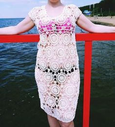 Handmade #crochetdress Crochet #beachtunic Beige Beach Dress Bohemian Women Clothing Boho style Unique #Lacedress Summer Sundress by CrochetByPapilio on Etsy #teampinterest