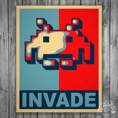 'INVADE: Space Invaders Mashup avec la campagne Yes We Can d'Obama' T-shirt by clothorama Space Invaders, Arcade, Video Game, Mario, Games, Fictional Characters, Adhesive, Vinyls, Stickers