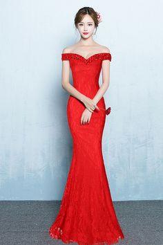14d309b5588 Super-large Size Yuanzhuan Diamond Bag Buttock Dragging Sleeveless Lace  Evening Long Dress 706 Red