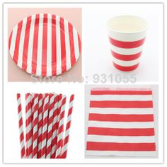 Party Supplies Red Striped Paper Straw Paper Plate Paper Cup Bag, Christmas Party Decoration FREE SHIPPING $50.00