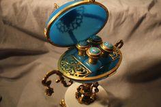 Fabulous Royal French Blue Opaline Egg with 4 Scent Bottles Gilt Ormolu Fru Fru, Antique Perfume Bottles, Beautiful Perfume, Opaline, Bottle Art, French Blue, Fat Lady, 1850s Fashion, Egg
