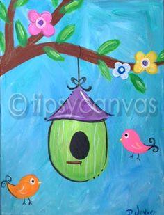 birdhouse canvas painting for kids Kids Canvas Art, Easy Canvas Painting, Painting For Kids, Kids Paintings On Canvas, Canvas Ideas, Spring Drawing, Spring Painting, Art Drawings For Kids, Drawing For Kids