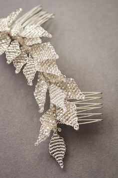 Swept Away | Bespoke bridal hair comb with silver leaves