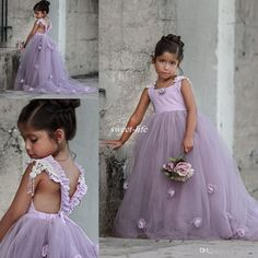 Lovely Light Purple Ball Gown Wedding Flower Girl Dresses Handmade Flower Puffy Tutu Vintage Lace 2017 Kids Baby Dress for Party Birthday Purple Flower Girls, Tulle Flower Girl, Wedding Flower Girl Dresses, Gown Wedding, Baby Flower, Girls Pageant Dresses, Little Girl Dresses, Baby Dress, Ball Gowns