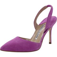 Manolo Blahnik Carolyne Suede Slingback Heels (€580) ❤ liked on Polyvore featuring shoes, pumps, manolo blahnik pumps, purple shoes, purple pointed toe pumps, purple high heel shoes and high heeled footwear