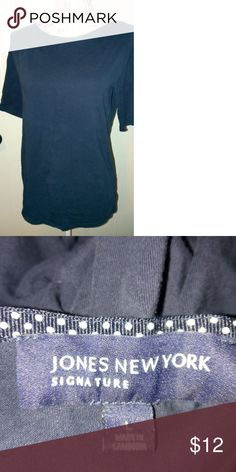 Jones of NY Navy Short-Sleeved T-shirt Sz L Made in Cambodia. Darkest navy. Nice career or casual piece!  *.....2 or More Purchases Bundled From My Closet Get 10% Off Entire Order. PLUS no matter how many items in the order you just pay shipping once!!! ....* Jones New York Tops Tees - Short Sleeve