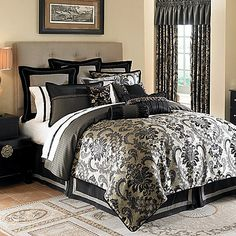 Waterford® Ormonde Bedding Ensemble in Black and Gold-BBB This is definitely what I'm doing our room in!