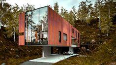 Dit waanzinnige moderne huis van een fotograaf ligt in een oude steengroeve