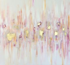 """Colorful, textural and playful. Hues of reds, pinks and oranges with gold leaf accents that shimmer in the light. As with most of my work, can be displayed from any direction. 36"""" x 36"""" x .5"""" ac..."""