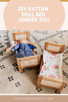Learn how to make your toddler/kids their own doll bed with cane for under $10. This boho, rattan-inspired doll bed is so easy to make yourself. It makes a great gift for two, three, four, five, and six-year-olds.