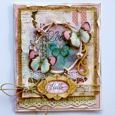 Love this beautiful card that Gabrielle Pollacco designed using the new Primrose collection. The elements are just gorgeous. #BoBunny, #cards, @gabrielle Pollacco