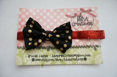 gold black and red headband bow headband headband by BBMCreations