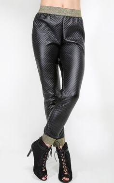 Quilted Lurex Jogger Pants | MakeMeChic.com