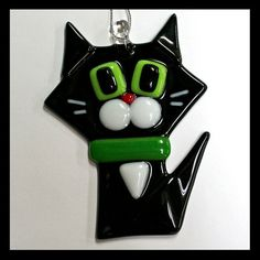 Glassworks Northwest - Black Cat w/ White Cheeks - Fused Glass Ornament