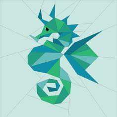 "Geometric Seahorse 10"" Paper Piecing quiltartdesigns.blogspot.com"