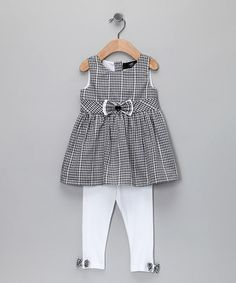 Black Gingham Woven Tunic & Leggings - Infant