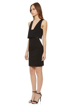 Image 1 of Eve Mini Dress with Square Plunge Front and Open Back · Black · AQ/AQ
