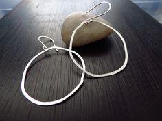 Organic sterling silver hoop earrings, hammered silver earrings, sterling hoop, by BLUEskyBLACKbird on Etsy https://www.etsy.com/listing/130058288/organic-sterling-silver-hoop-earrings